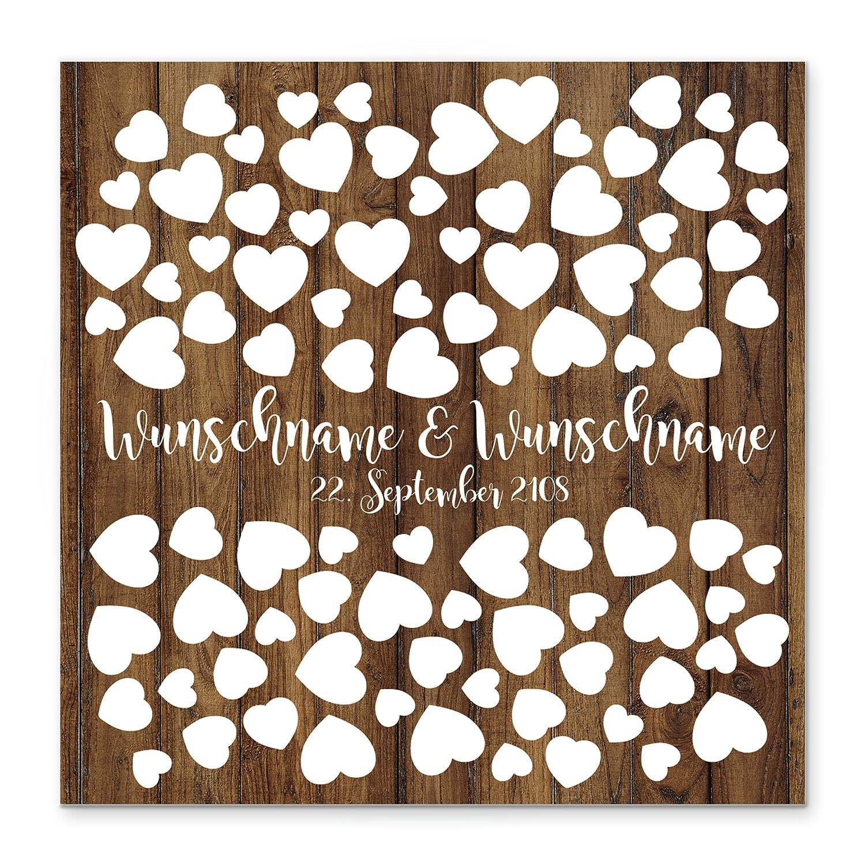 50x50 cm gro/ß auf Keilrahmen Holz Madyes Leinwand Hochzeit Fingerabdruck G/ästebuch personalisiert Holz und Herz f/ür das Brautpaar als Geschenk Hochzeitsdekoration Namen mit Datum
