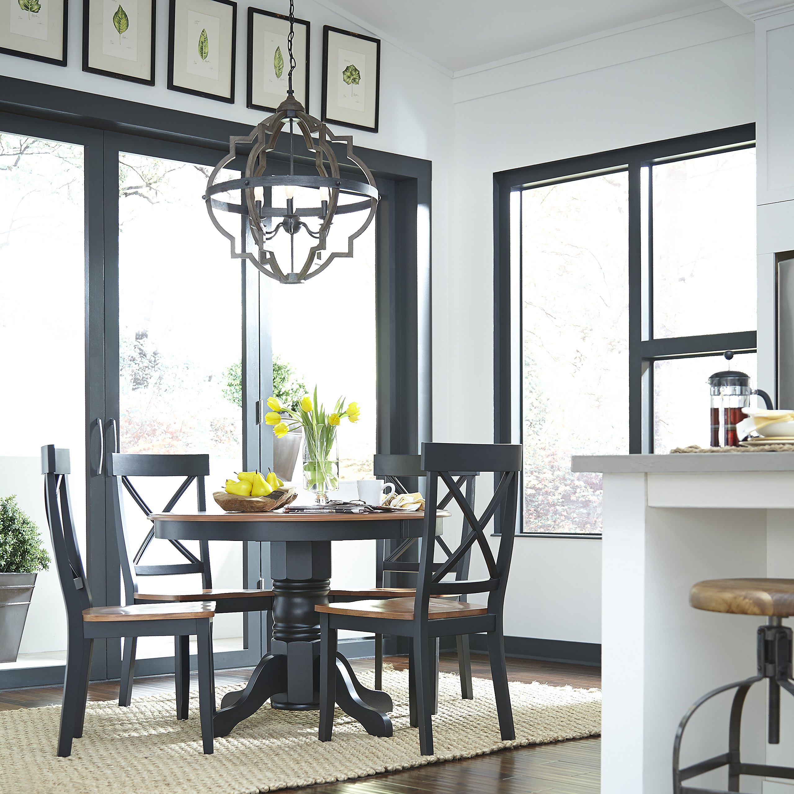 Home Styles 5168-30 Round Pedestal Dining Table, Black and Cottage Oak Finish by Home Styles (Image #3)