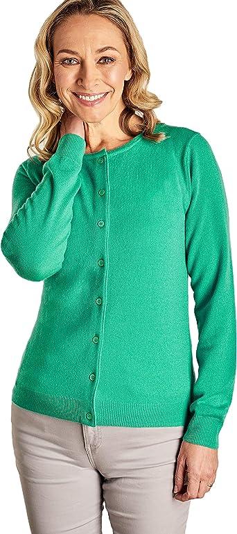 WoolOvers Womens Cashmere Merino Classic Crew Neck Cardigan