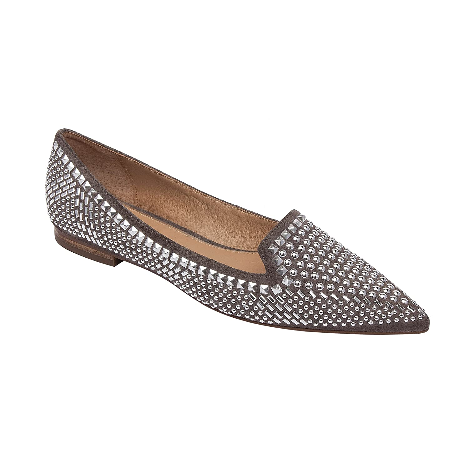 Linea Paolo Portia | Stud Adorned Suede Slip-On Moc Slipper Comfortable Flat (New Fall) B07DMB2QKZ 5 M US|Stone Suede