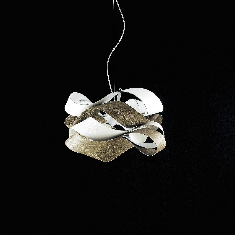 Moderna lámpara de techo con cintas de PVC Efecto Madera 3 ...