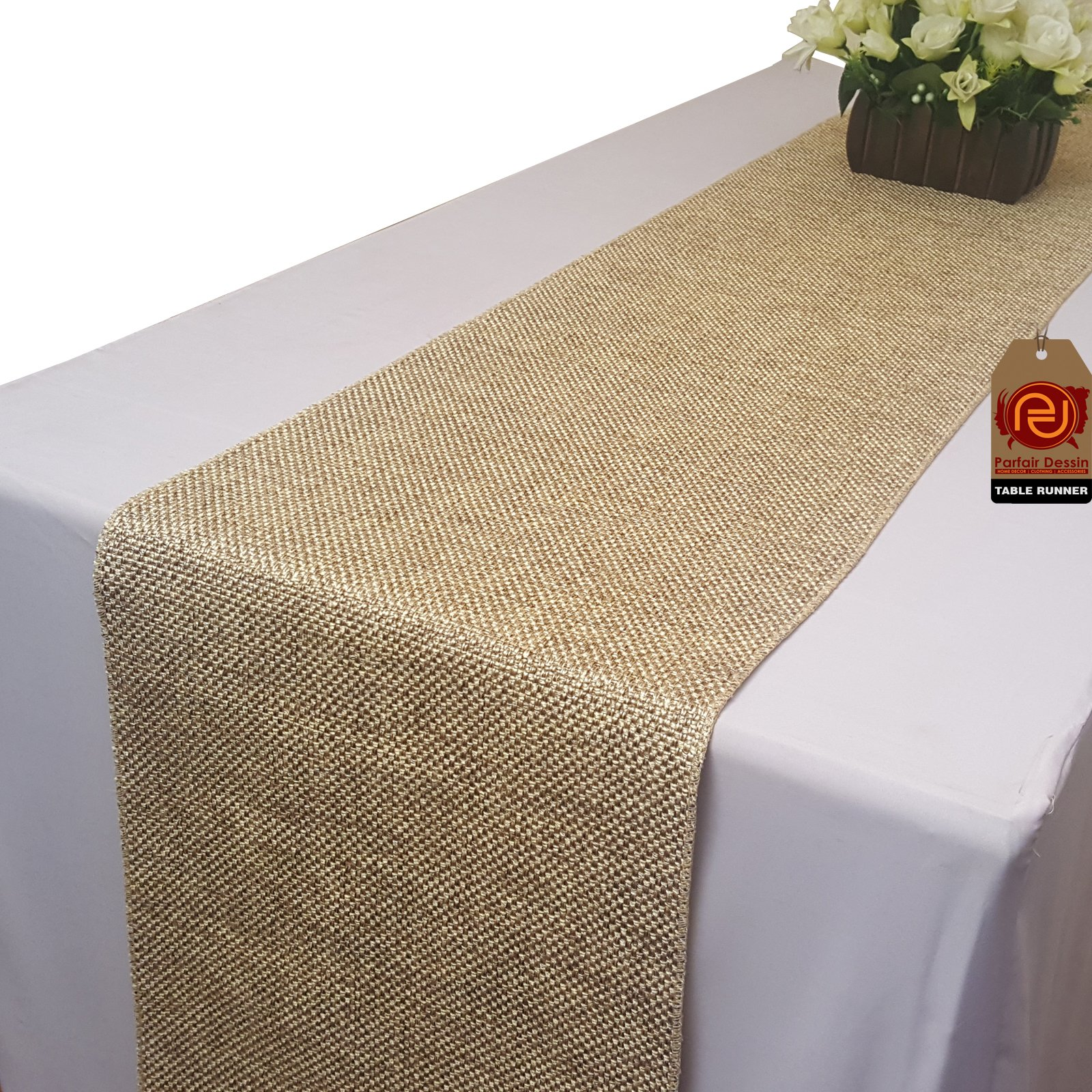 Parfair Dessin 13'' x 72'' Burlap Jute-Cotton High Density Fabric Table Runner: Natural TRAA2-72