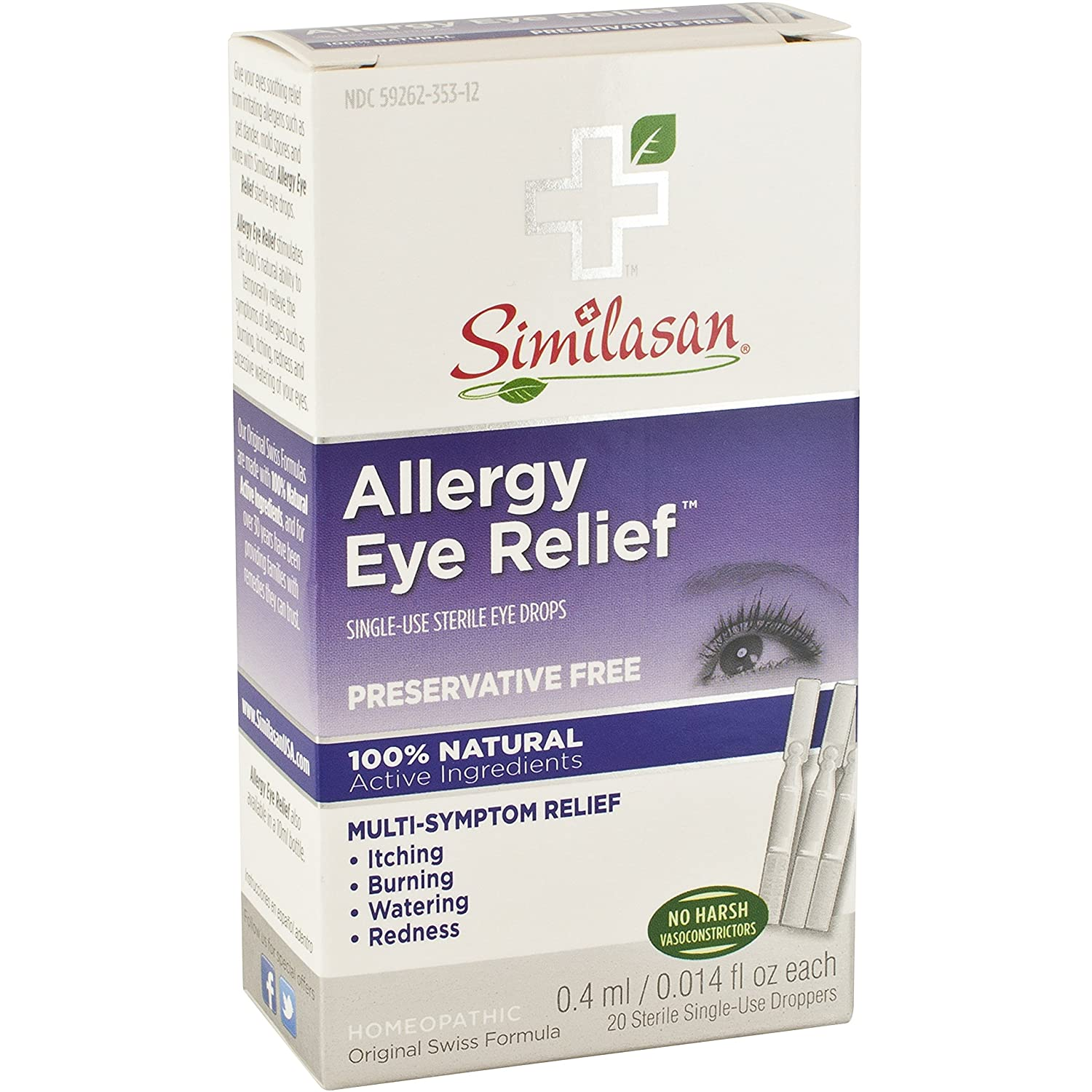 Amazon.com: Similasan Allergy Eye Relief, Preservative Free, Single-Use Dropper, 9ml: Health & Personal Care