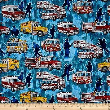 Quilting Treasures 5 Alarma camiones de bomberos azul tela ...