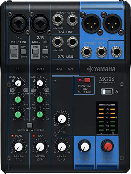Yamaha MG06 - Mesa de Mezcla Analógica, 244 x 71 x 294 mm, color ...