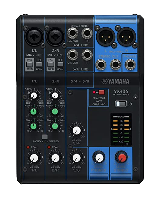 36 opinioni per Yamaha MG6 Mixer Analogico, 6 Ingressi, Nero/Blu