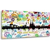 Wandbild von Kunstbruder / Kunstdruck auf Leinwand / Köln Tags by Hero Art Skyline (div. Größen) - Bilder Banksy Leinwandbilder 50x100cm