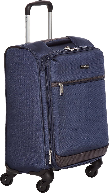 AmazonBasics - Maleta blanda con ruedas giratorias, 47 cm , para equipaje de mano, Azul marino