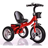Little Bambino RideOn Pedal Tricycle Children Kids Smart Design 3 Wheeler | Red | CE Approved Air Wheels Adjustable Seat Metal Frame Bell