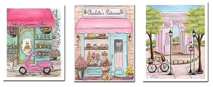 Amazon.com: Pink Paris Bedroom Decor Set of 3 Prints ...