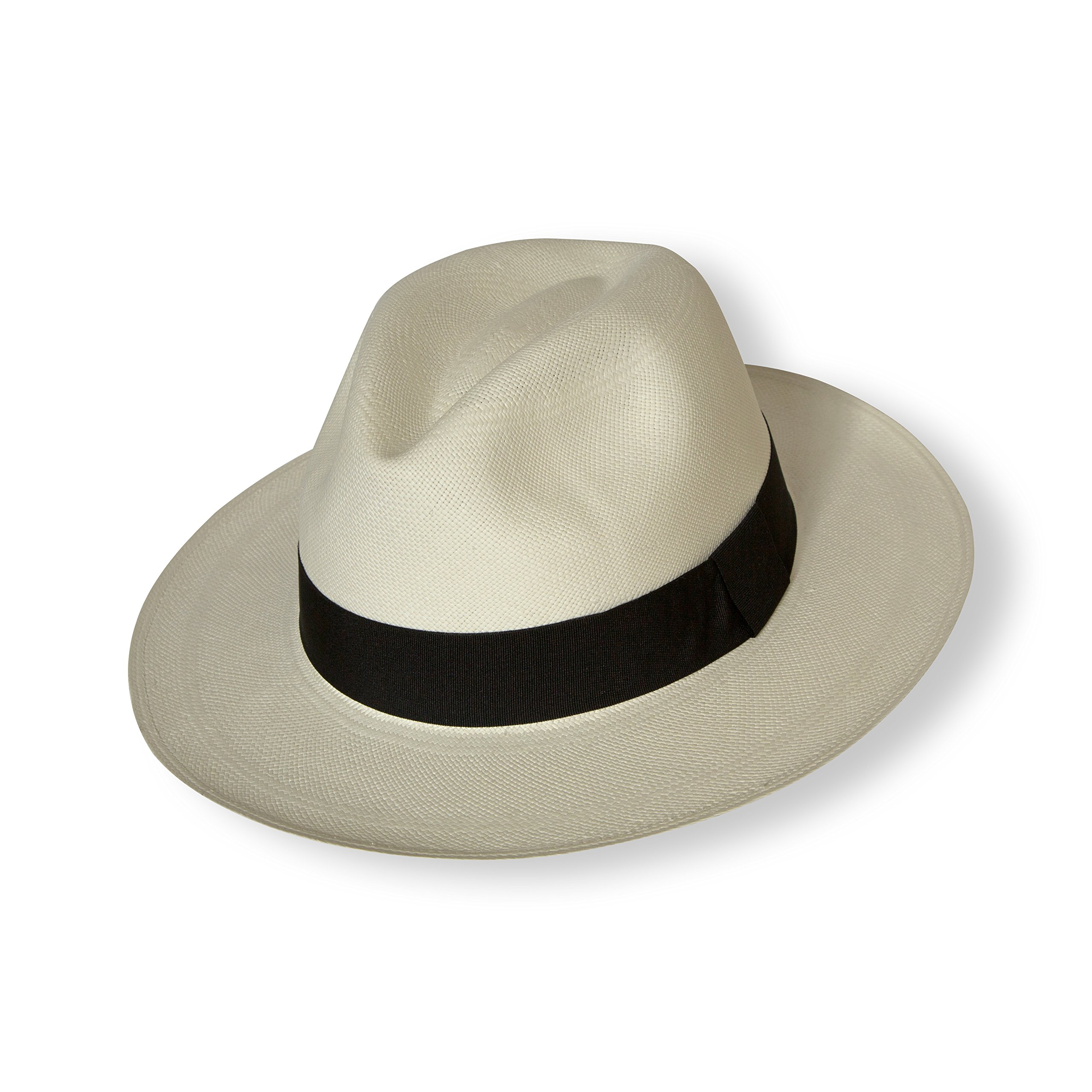 Borges & Scott Signature - Premium Fedora Panama Hat - Rollable for Travel - Natural Straw with Brown Band - 58cm