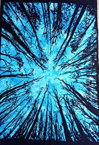 Heyrumbh Handicrafts Bohemian Tie Dye Sky Blue Dark Forest Tapestry Printed Wall Hanging Cotton Poster (40 X 30 inches)