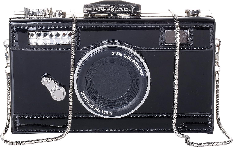 QZUnique Women's PU Camera Shaped Snapshot Casual Cross body Shoulder Handbag Purse