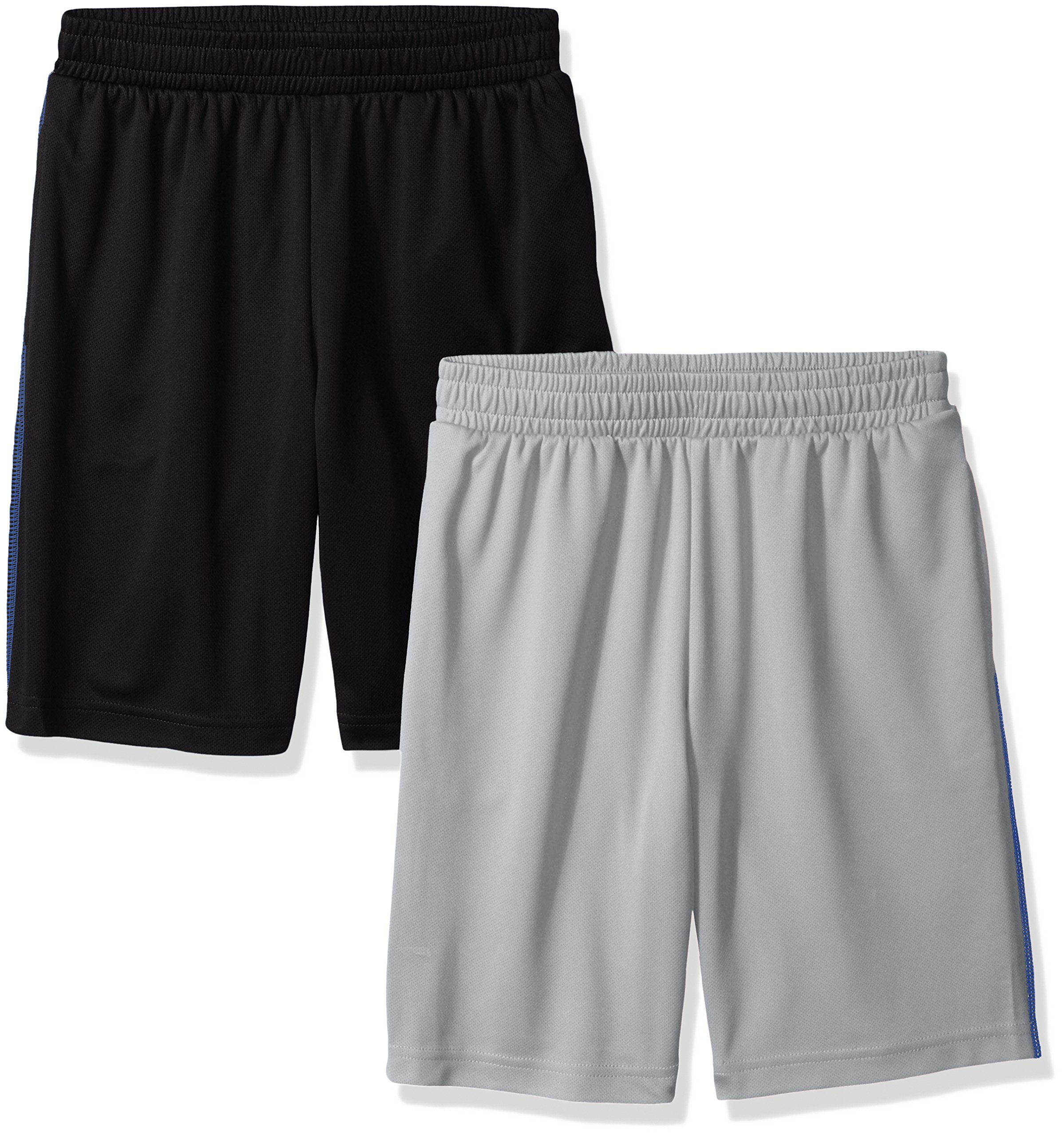 Amazon Essentials Big Boys' 2-Pack Mesh Short, Black/Light Grey, Medium