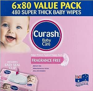 Curash Curash Fragrance Free Baby Wipes 6x80s, 480 count