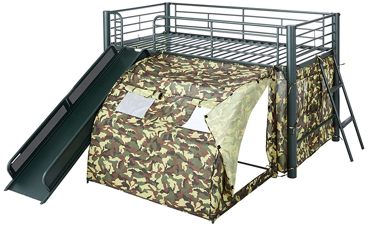Coaster Home FurnishingsKids Camo Tent Twin Loft Bunk Bed with Slide - Camouflauge