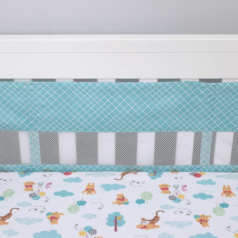 Disney Winnie The Pooh First Best Friend Secure-Me Crib Liner, Aqua/White
