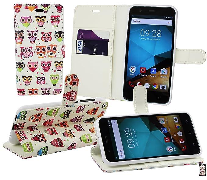 Emartbuy® Vodafone Smart Prime 7 PU Cuero Funda Carcasa Wallet Case Cover con Tarjeta de Crédito Slots - Búhos