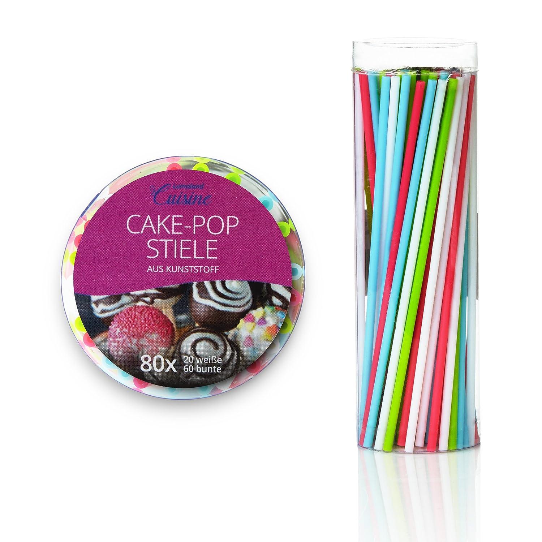 Lumaland palitos para reposteria CakePop, piruletas ChupaChups, 80 unidades reutilizables palito aprox 15 cm de largo en 4 colores