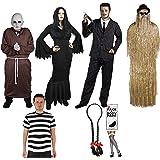 Ilovefancydress - Set di costumi dei membri della famiglia Addams: Gomez, Morticia, Zio Fester, Cugino It, Mercoledì e Pugsley