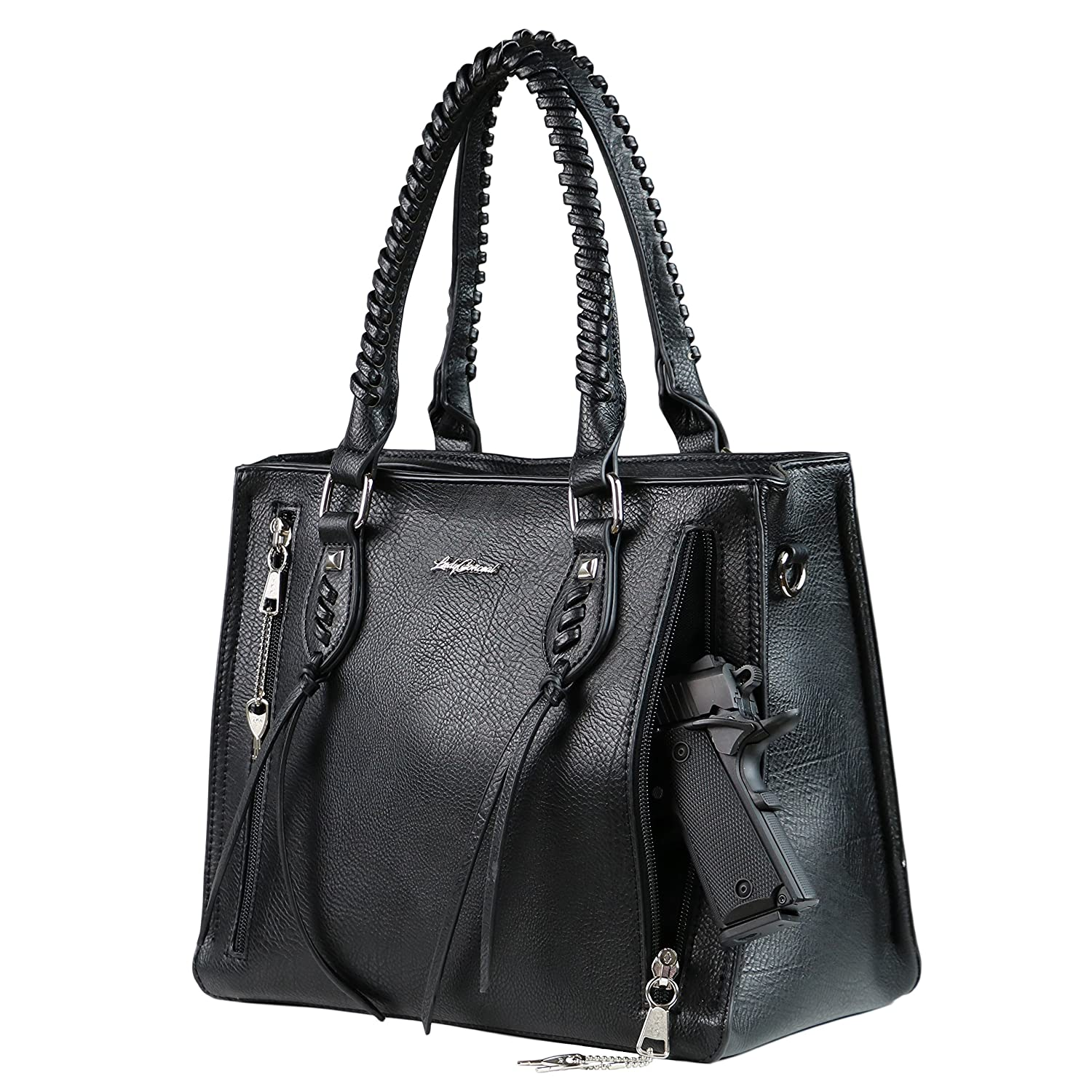 a01ab7d98e Concealed Carry Weapon Purse - YKK Locking Amy Studded Satchel by Lady  Conceal (Black)  Handbags  Amazon.com