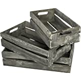 Farmhouse Style Barnwood Gray Wood Nesting Crates, Rustic Open Top Storage Pallet Boxes
