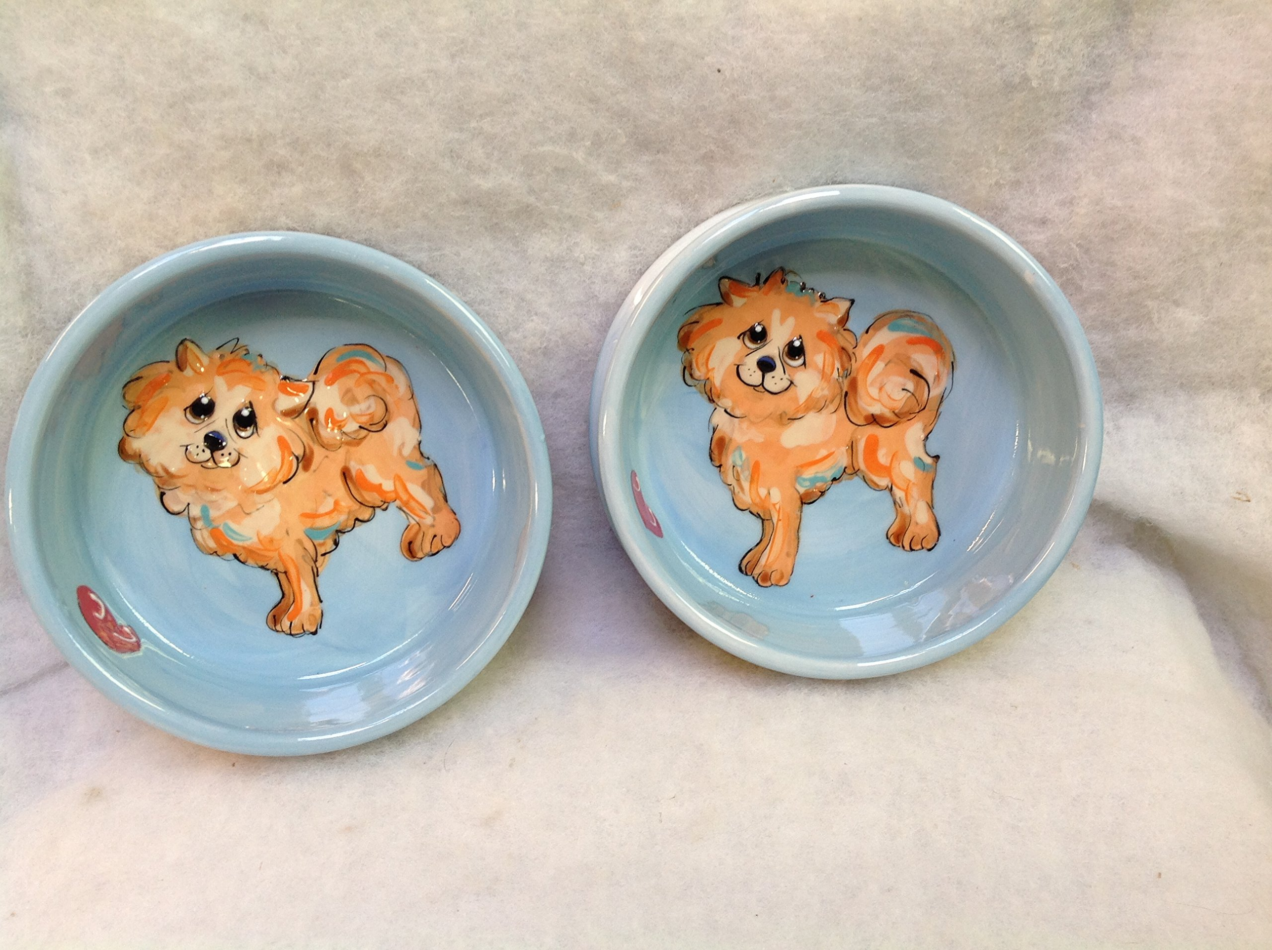 Pomeranian 8''/6'' Pet Bowls for Food/Water. Personalized at no Charge. Signed by Artist, Debby Carman.