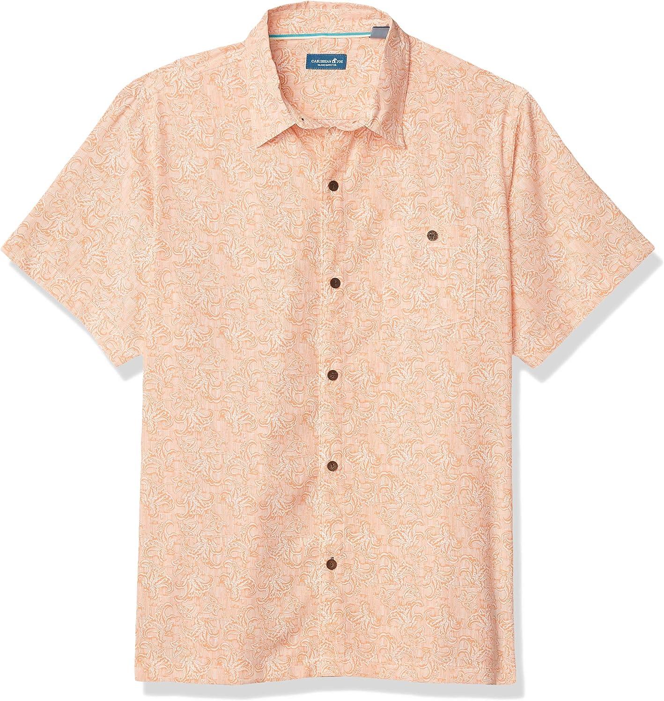 Caribbean Joe Men's Short Sleeve Tropical Wall Paper Print Button Up Shirt