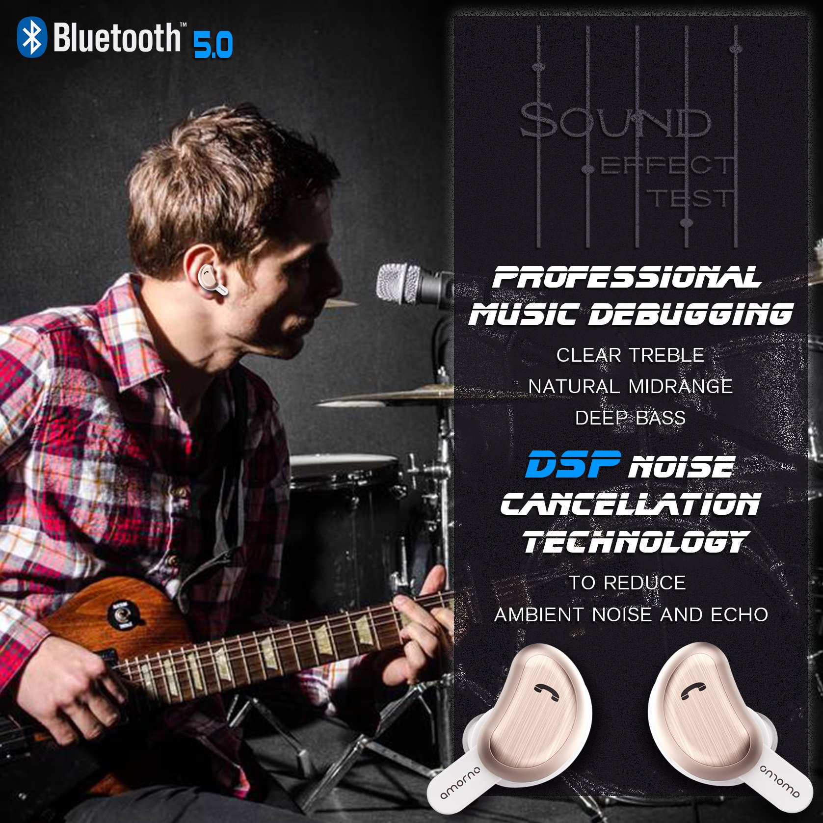Details about Wireless Earbuds, AMORNO True Bluetooth Headphones In-Ear  Deep Bass Noise