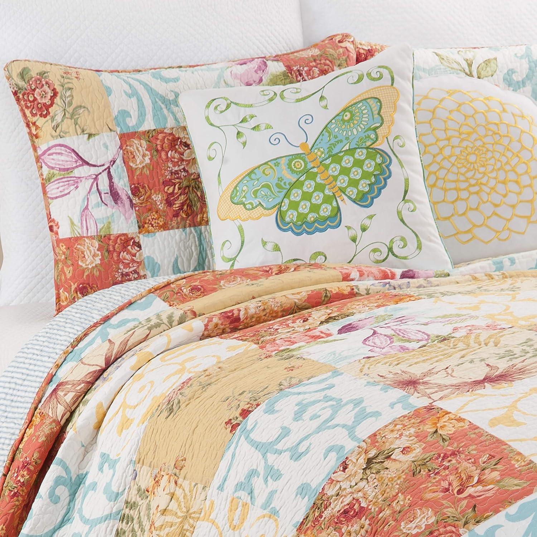 C&F Home Francesca Floral Patchwork Summer Spring Garden Farmhouse Blue Orange Reversible Sham King 3 Piece Cotton Quilt Set King 3 Piece Set Multicolored
