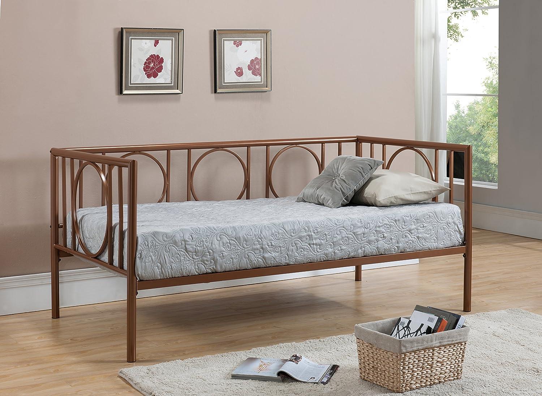 Twin Size Kupfer Metall Tag Bett Rahmen mit Rollen weiß Einführung ...