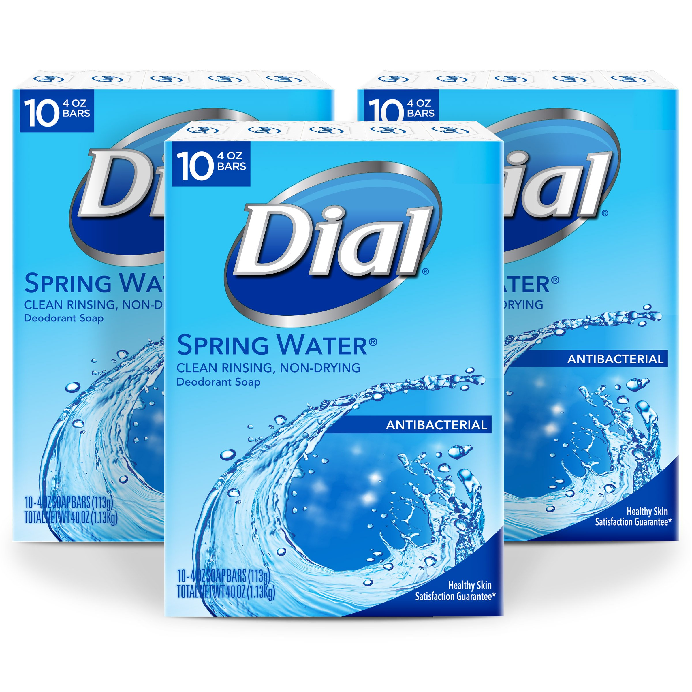 Dial Antibacterial Deodorant Bar Soap, Spring Water, 4-Ounce Bars, 10 Count (Pack of 3) by Dial (Image #1)