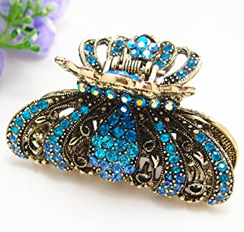 Metal Hair Claw Clip Beautiful Butterfly Flower Blue Crystal Bridal Hair Claws Fashion Jewelry Jewelry & Watches
