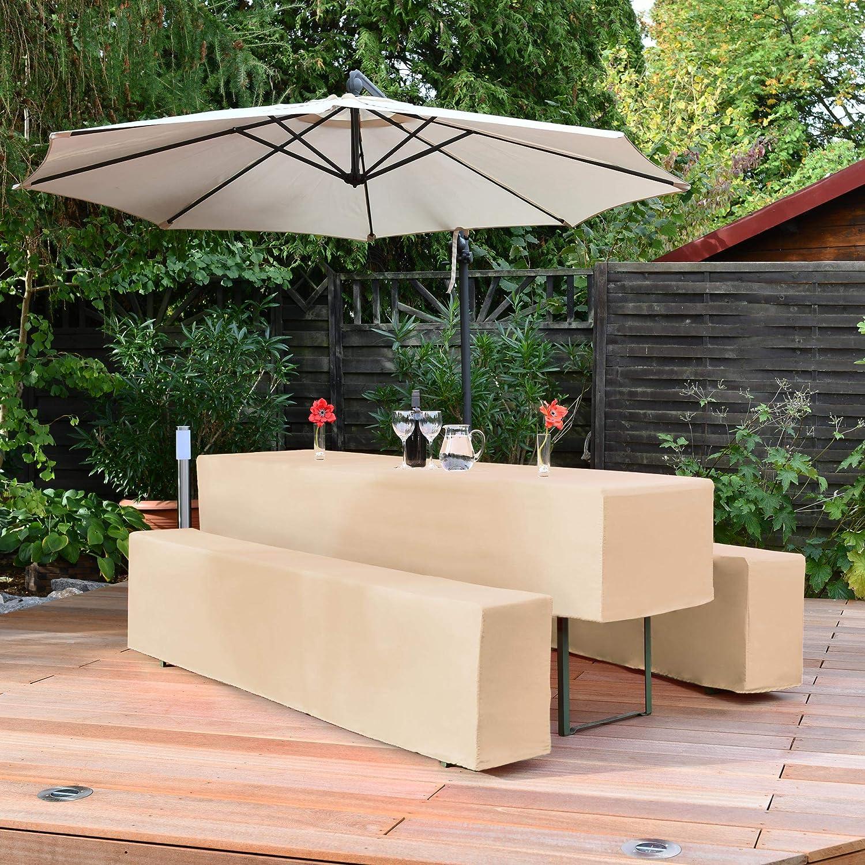 Beautissu Comfort M Nappe de Table de 220x50cm Mariage f/ête Banquet 2 Housses rembourrees de bancs Ecru
