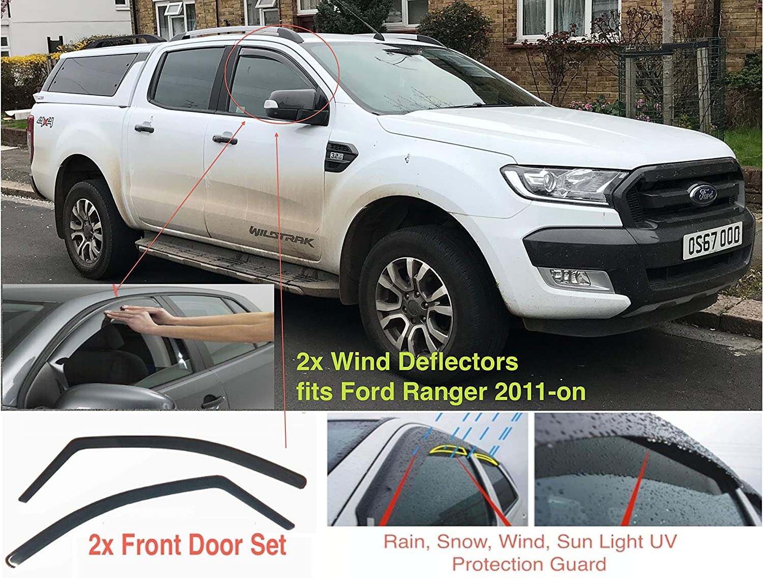 T6 AC WOW 2x Wind Deflectors Compatible with Ford Ranger Double Cab 2011-present Wildtrak Smoke Tinted Acrylic Glass Door Side Windows Interior In-Channel Visors Rain Snow Sun Guards