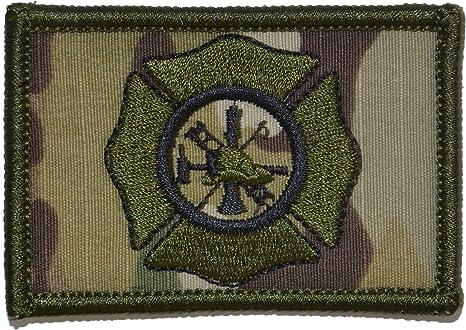 Fire Fighter Maltese Cross 2x3 Hat Patch Black