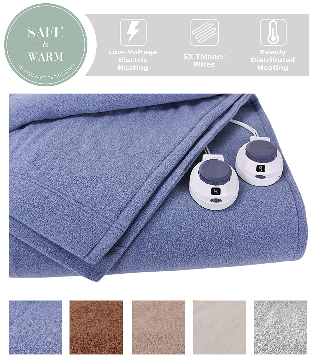 SoftHeat by Perfect Fit | Luxury Micro-Fleece Low-Voltage Electric Heated Blanket (King, Slate Blue)
