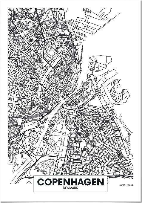 Panorama Cuadro de Aluminio Copenhague 35x50cm - Impreso en Aluminio Dibond Blanco Cuadros para Salón - Cuadro Mapas de Ciudades - Póster Mapa - Láminas Decorativas - Cuadros Modernos: Amazon.es: Hogar