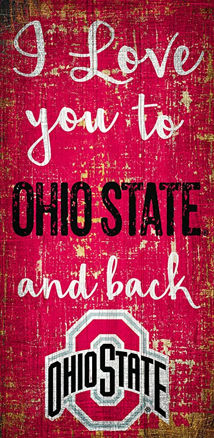 Wood Sign Fan Creations NCAA Ohio State Buckeyes 6 x 12 I Love You to