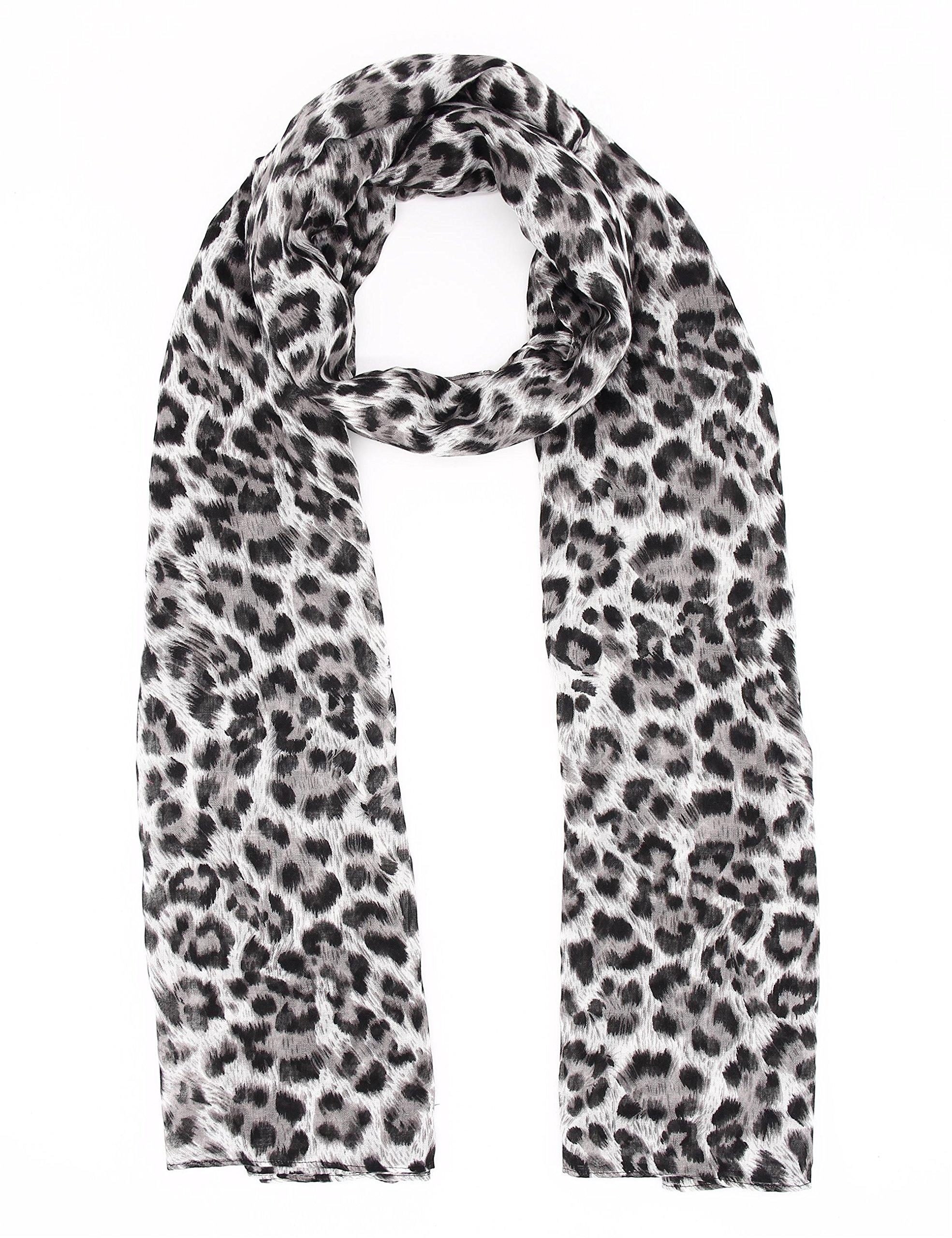 Chiffon Scarfs For Women Classic Leopard Lightweight Fashion Soft Large Shawl Wrap Print Long Head Scarfs By J'Mysticon