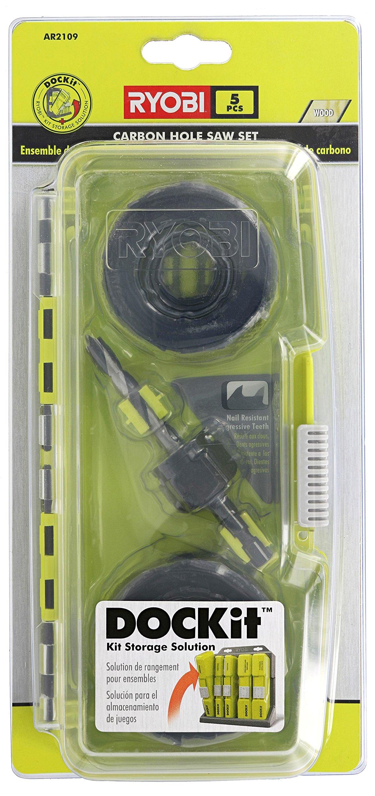 Ryobi AR2109 5 Piece Nail-Resistant Carbon Hole Saw with Dock-It Storage TechnologyHole Saw Set (5-Piece) AR2109