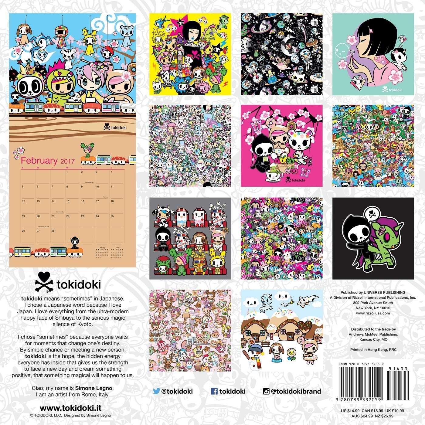 tokidoki 2017 Wall Calendar Simone Legno 0676728032052 Amazon