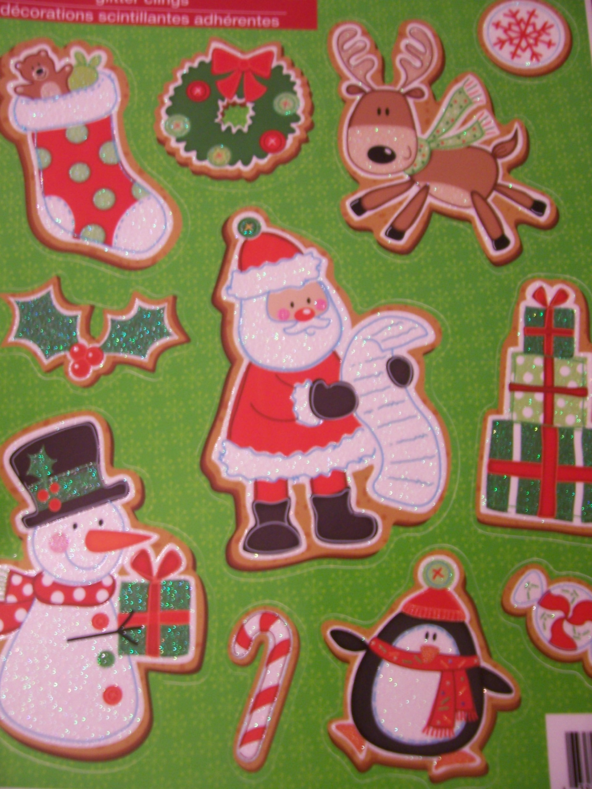 Christmas Reusable Glitter Window Clings ~ Santa, Rindeer, Penguin, Snowman, and more! (11 Clings)