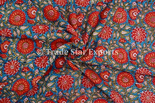 5 to 50 Yards Indian Hand Block Print Fabric 100/% Cotton Vegetable Natural Color Print Crazy Cotton Fabric for Multi Uses 069