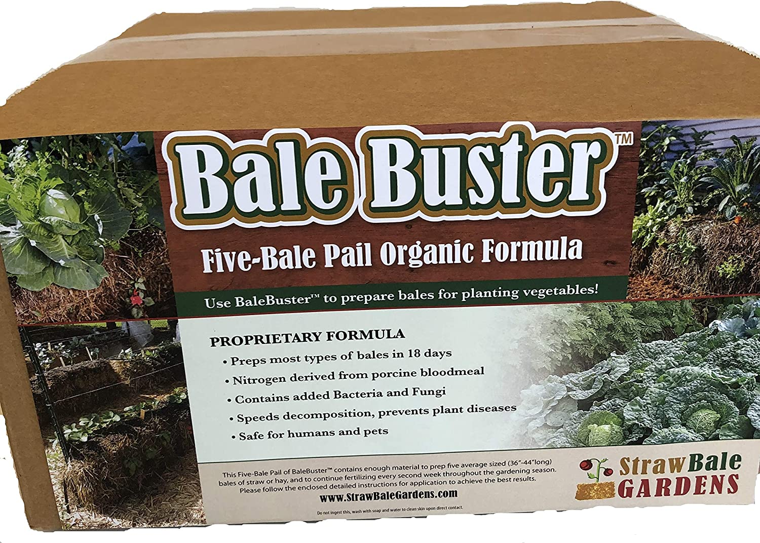 BaleBuster Straw Bale Gardening Five Bale Preparation kit with 100% Organic Formulation Blood Meal 18 lbs Includes Bacteria and Fungi Spores