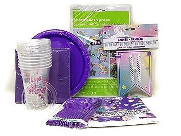 Amazon com: Unicorn Party Supplies Set, Hip Hip Hooray Birthday