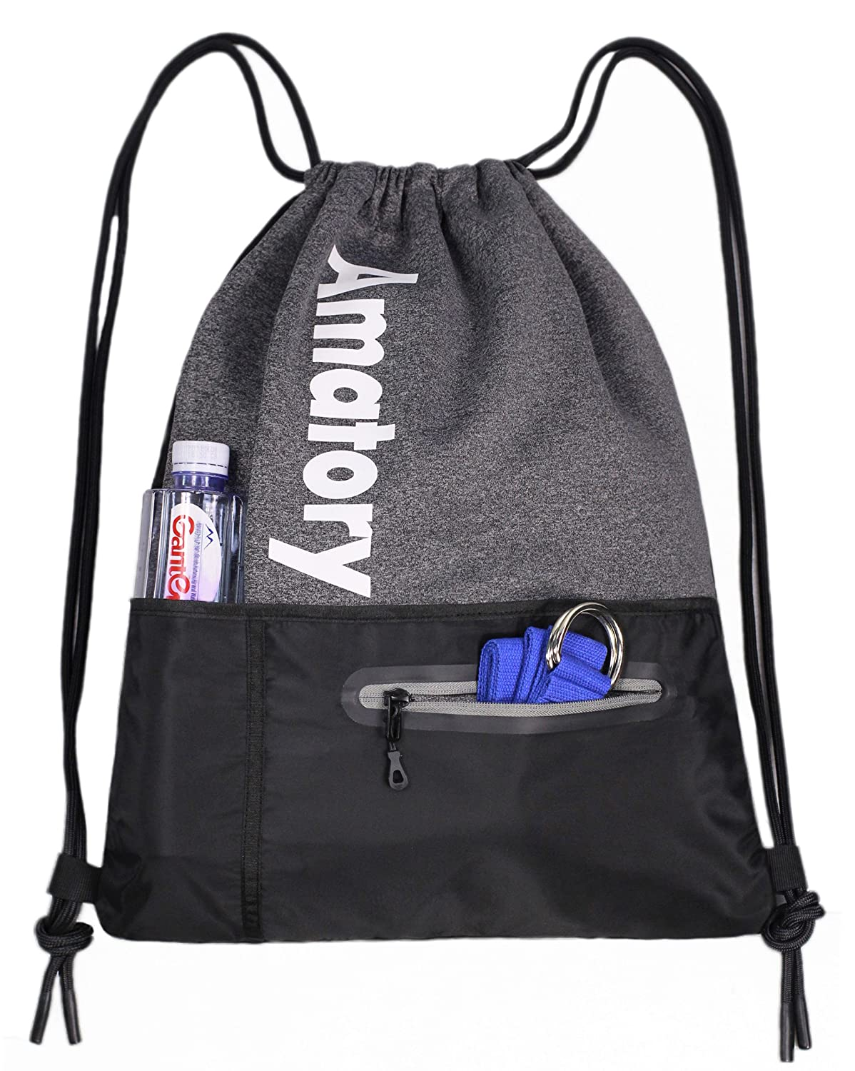 Drawstring Backpack Sports Athletic Cinch Sack Gymsack Sackpack Gym String Bag US-1802-Purple
