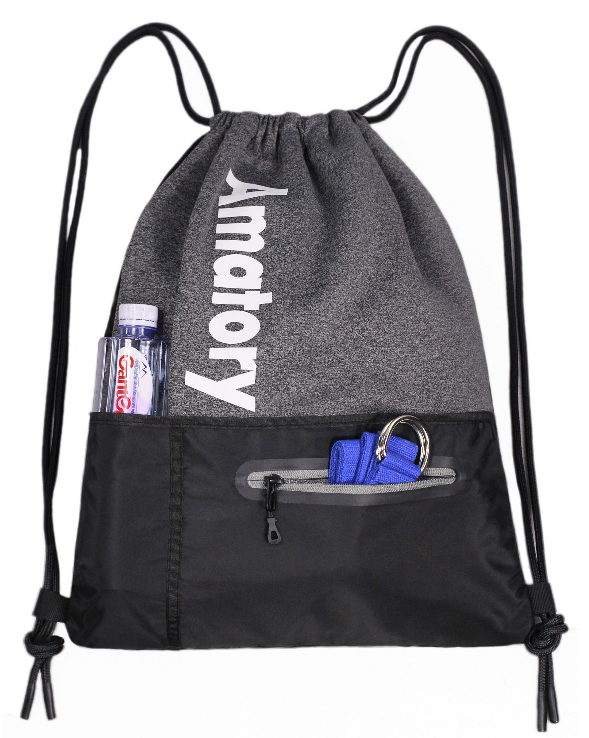 Drawstring Backpack Sports Athletic Cinch Sack Gymsack Sackpack Gym String Bag (Gray)