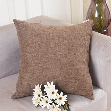 HOME BRILLIANT Winter Decoration Solid Linen Euro Throw Pillowcase Cushion Cover for Living Room, 20 x20 , Brown