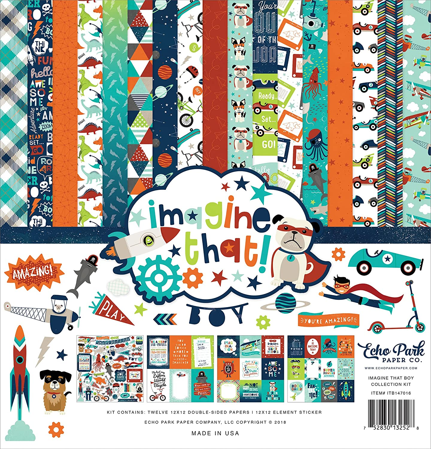 Echo Park Paper Company Imagine That Boy Collection Kit, None ITB147016